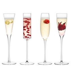 Lulu Set of 4 assorted Champagne flutes, clear