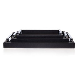 Tray, 31.5 x 21.5cm, black leather with polished handles