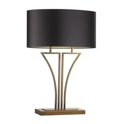 """Antique brass table lamp with 20"""" oval mocha premium satin gold shade 50.5cm"""