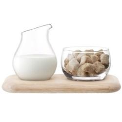 Sugar/cream set with oak base 22.5cm