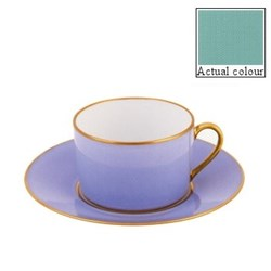 Sous le Soleil Teacup and saucer straight sided, 15cl, mint green with classic matt gold band