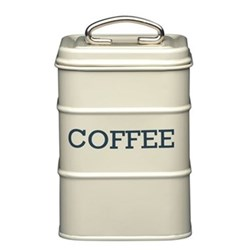 Living Nostalgia Coffee canister, 11 x 17cm, cream enamelled steel
