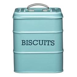 Living Nostalgia Biscuit storage tin, 14.5 x 19cm, blue enamelled steel
