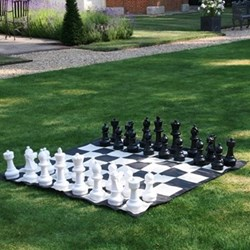 Garden chess set with matt and bag, H30cm (King)