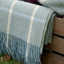 Shetland wool throw, L180 x W145cm, duck egg blue/ivory
