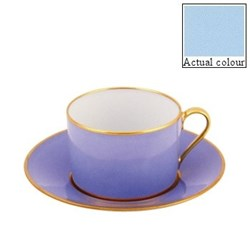 Sous le Soleil Breakfast cup and saucer straight sided, 25cl, opal with classic matt gold band