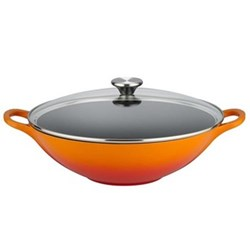 Cast Iron Wok with glass lid, 32cm, volcanic