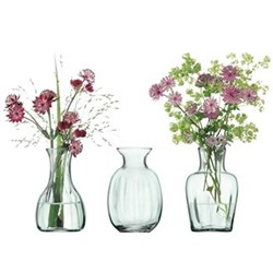 Mia Mini vase trio, 11cm, recycled glass partial optic