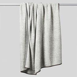 Daya Contrast edge knitted throw, 180 x 120cm, soft grey