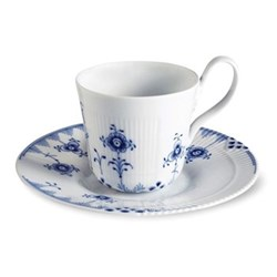 Elements High handle cup and saucer, 25cl, blue