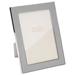 "Faux Shagreen Photograph frame, 5 x 7"" with 24mm border, grey with silver plate"