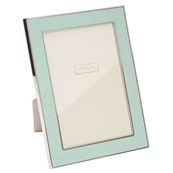 "Faux Shagreen Photograph frame, 5 x 7"" with 24mm border, sea with silver plate"