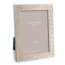 """Faux Croc Photograph frame, 5 x 7"""" with 24mm border, cream with silver plate"""