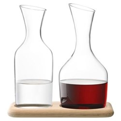 Wine Water and wine carafe set, 1.2 litre, clear glass with oak base