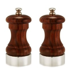 Rosewood Capstan Salt and pepper mill set, 10.2cm, sterling silver band