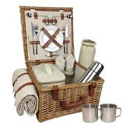 Deluxe Picnic hamper 2 person, 38 x 38 x 21cm, willow wicker with tan leather handles