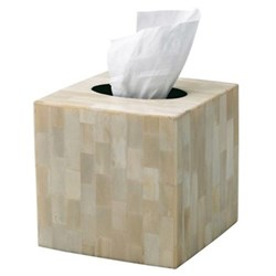 Bone Tissue box cover, 15 x 15cm, natural