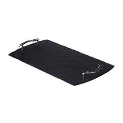 Antler Handles Serving tray, 42 x 15cm, slate with stainless steel