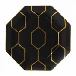 Arris Octagonal side plate, 23cm, charcoal with gold band