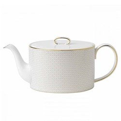 Arris Teapot, 1 litre, white with gold band