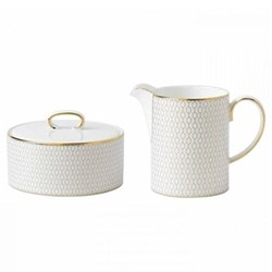 Arris Covered sugar bowl and creamer set, white with gold band