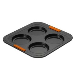 Bakeware 4 cup Yorkshire pudding tray, 24 x 24 x 1.5cm, black