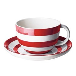 Set of 4 cups and saucers, 28cl, red