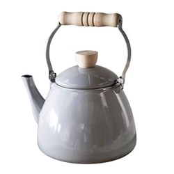 Stove kettle, H23.5 x W18 x D23cm, charcoal enamel with wood handle