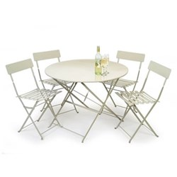 Garden table with 4 chairs table H71 x D90cm; chair H78 x W50 x D42cm