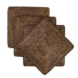 Rattan Set of 4 square placemats, W22 x D22cm