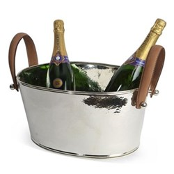 Leather Handled Champagne bath, H18 x W20 x D38cm, hammered nickel plate