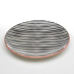 Tue Set of 6 flat plates, 26.5cm, black stripes