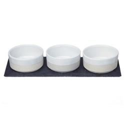 Mezze set, L35 x W13 x H6cm, stoneware and slate