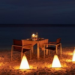 Romantic beach dinner for two