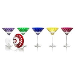 Birds of Paradise Set of 6 martini glasses, H18 x D13cm, assorted colours