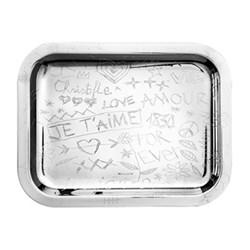Graffiti Rectangular tray, 26 x 20cm, silver