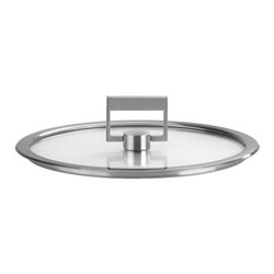 Strate Flat glass lid, 22cm, brushed stainless steel
