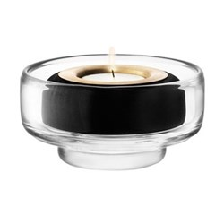 Tealight with brass/black beech holder H6cm