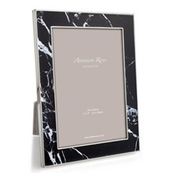 "Marble Photograph frame, 5 x 7"", black with silver plate"