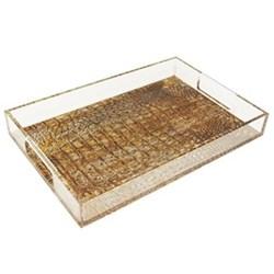 Acrylic - Crocodile Tray, 20 x 30cm, gold