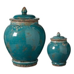 Pair of urns large H32 x D23cm - small H19 x D13cm