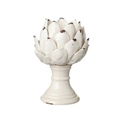 Cardoon Candle holder - small, D20 x H27cm, white