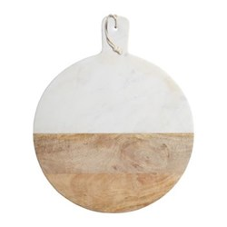 Master Class Round paddle board, 40.5 x 50 x 2cm, mango wood and white marble