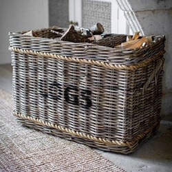 Log basket with rope 52 x 44 x 78cm