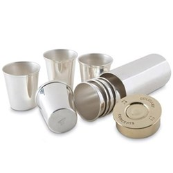 Cartridge Set of 8 shot cups, 10cm, silver plate