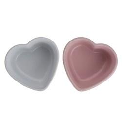 Stoneware Pair of heart ramekins, 24 x 11.5 x 7cm - 30cl, cotton white and chiffon pink