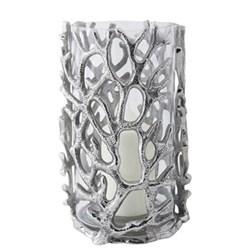 Coral Hurricane lantern - large, 30 x 16cm, aluminium and glass