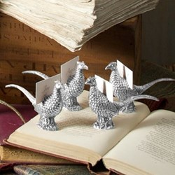 Pheasant Set of 4 place card holders, 6 x 11cm, aluminium and nickel plate