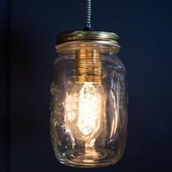 Single hanging preserve jar light, 17.5 x 9.5cm, glass
