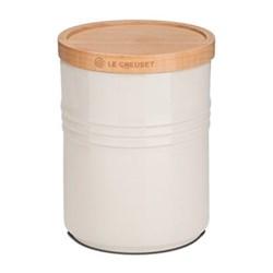 Stoneware Medium storage jar with wood lid, 10 x 12cm - 67.5cl, almond
